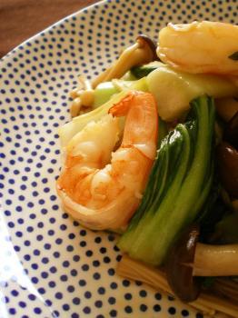 えびと青梗菜のオイスターソース炒め2