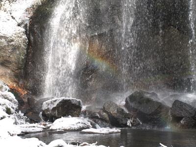 冬の達沢不動滝と虹