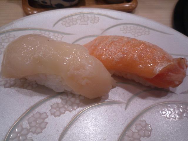 政寿司(クーポンサービスの帆立・炙りサーモン)