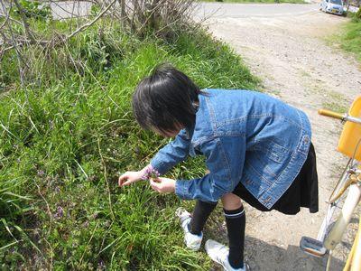 花を摘む娘