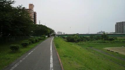 千代田橋を渡り折り返して右岸堤防下のサイクリングロードに