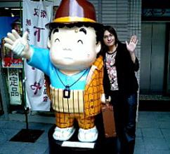 寅さん記念館にて、寅さん人形と一緒に(笑)