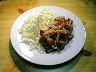 極薄豚ばら肉の生姜焼き001