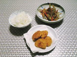 田舎でご飯(ホタテフライ、きんぴらごぼう、ご飯)001