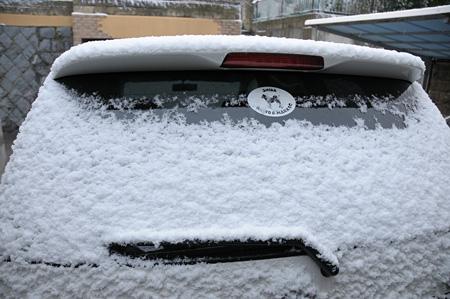 ルーフには5cmの積雪