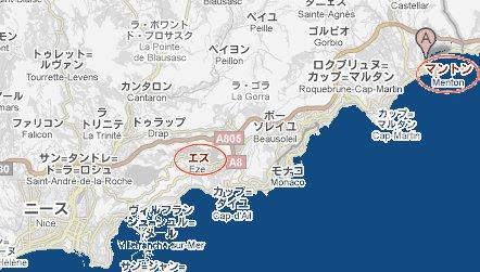 Menton Eze 地図