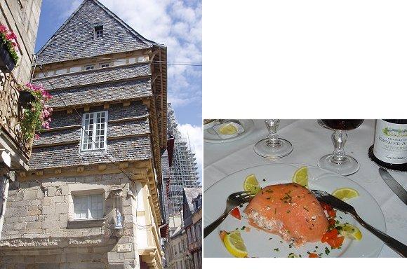複合木造りの家と前菜サーモン