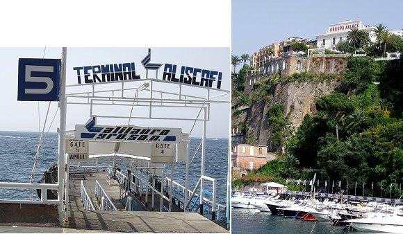 複合桟橋と崖の上の街
