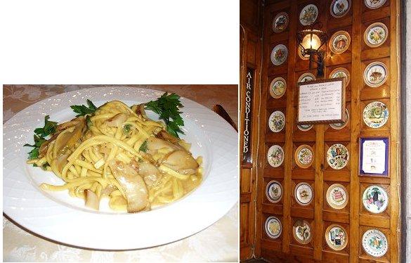 複合フィットチーネを食べたレストランの扉を飾る絵皿
