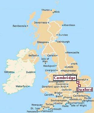 ケンブリッジとダックスフォード地図