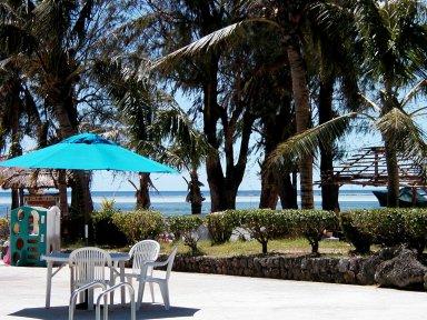 ビーチを望むのどかなホテルの庭downsize