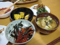イクラ御飯の夕食