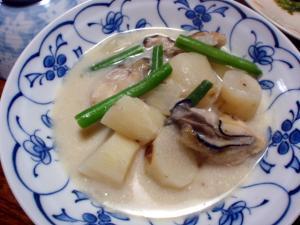 菊芋と長芋、牡蠣のミルク煮