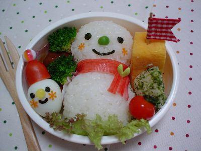 雪だるま親子のお弁当