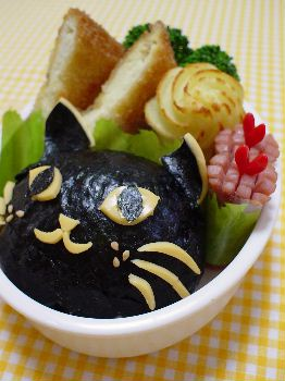 黒猫くんのカツレツ弁当