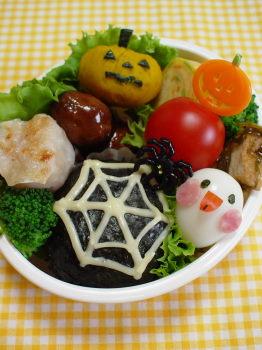 ハロウィン*クモの巣おにぎりのお弁当