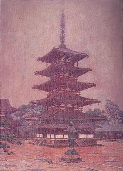 雨 法隆寺塔