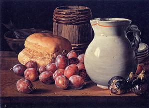 ルイス・メレンデス/ポデゴン:プラム、イチジク、パン、小樽、水差しなど