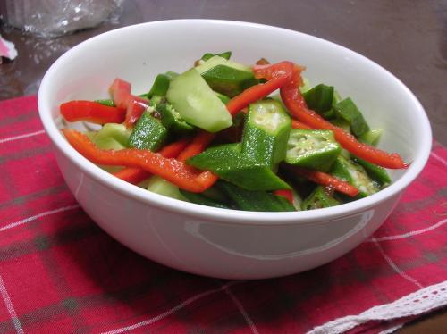 緑と赤のサラダ@玉ねぎドレッシングで