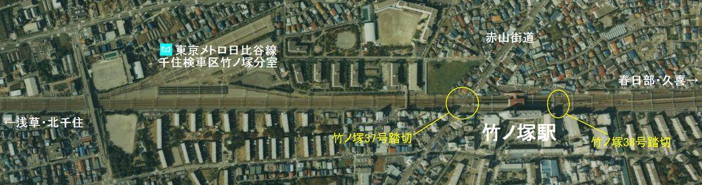 竹ノ塚駅付近の1989年の航空写真。20年以上経過しているが、街並み自体に大きな変化はない。