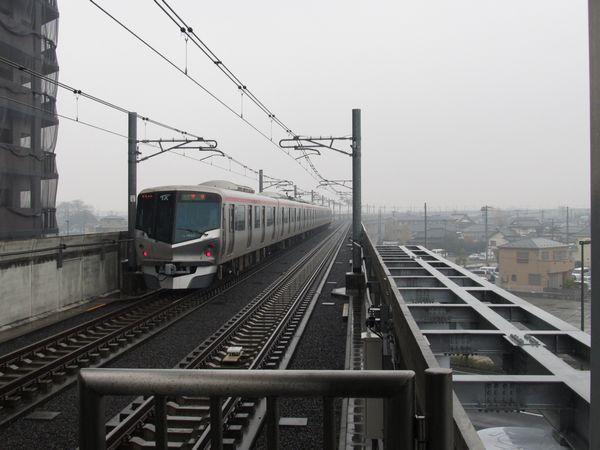 2両分のホーム台座が建設された三郷中央駅のつくば寄り。