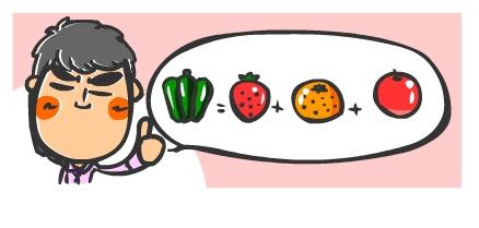 ピーマン=イチゴ+ミカン+リンゴ