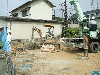 名切邸 柱状改良施工中3