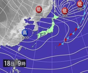 2月18日朝9時予想天気図