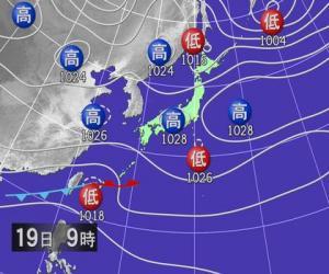 2月19日朝9時予想天気図