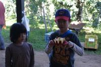 アップルカッターを持つ子供