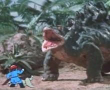 ティクラのブログ-ステゴサウルスに威嚇される