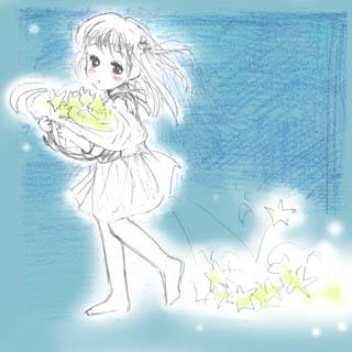 女の子の絵(星)
