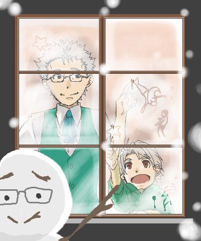 じいちゃん、雪が降ってきたよ!!!