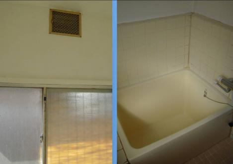 我が借家は木造で換気口はあるが換気扇が無い浴室のデジカメ写真画像