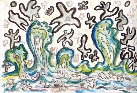 輝く波の中で踊るイラストs
