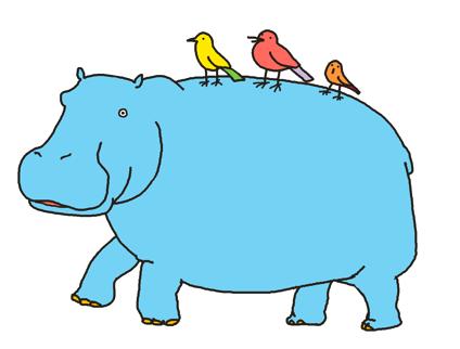 背中に鳥が乗っているカバのイラスト