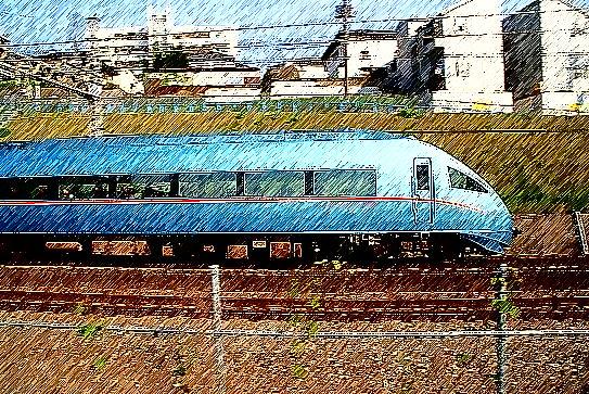 青いロマンスカー2(線画)