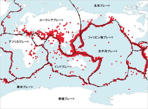 プレートと地震分布図