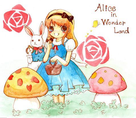 アリス 透明水彩