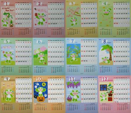 12ヶ月分です。(表裏のカレンダーです。撮った写真を並べただけです。)