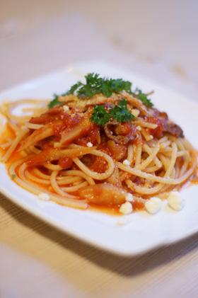 ごぼうと牛肉のトマトパスタ