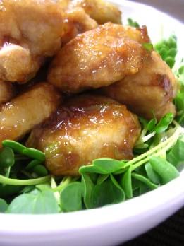 里芋と鶏肉の薬味入り照焼き