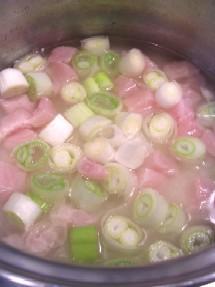 %お米と調味料、水を混ぜたら上に鶏肉と長ねぎをそっとのせます