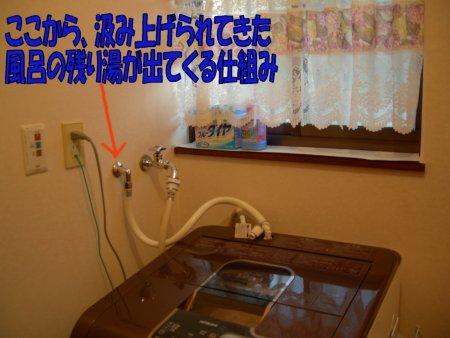 壁から直接、洗濯機に残り湯が入るシステム