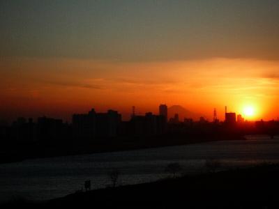 2.夕日と富士山