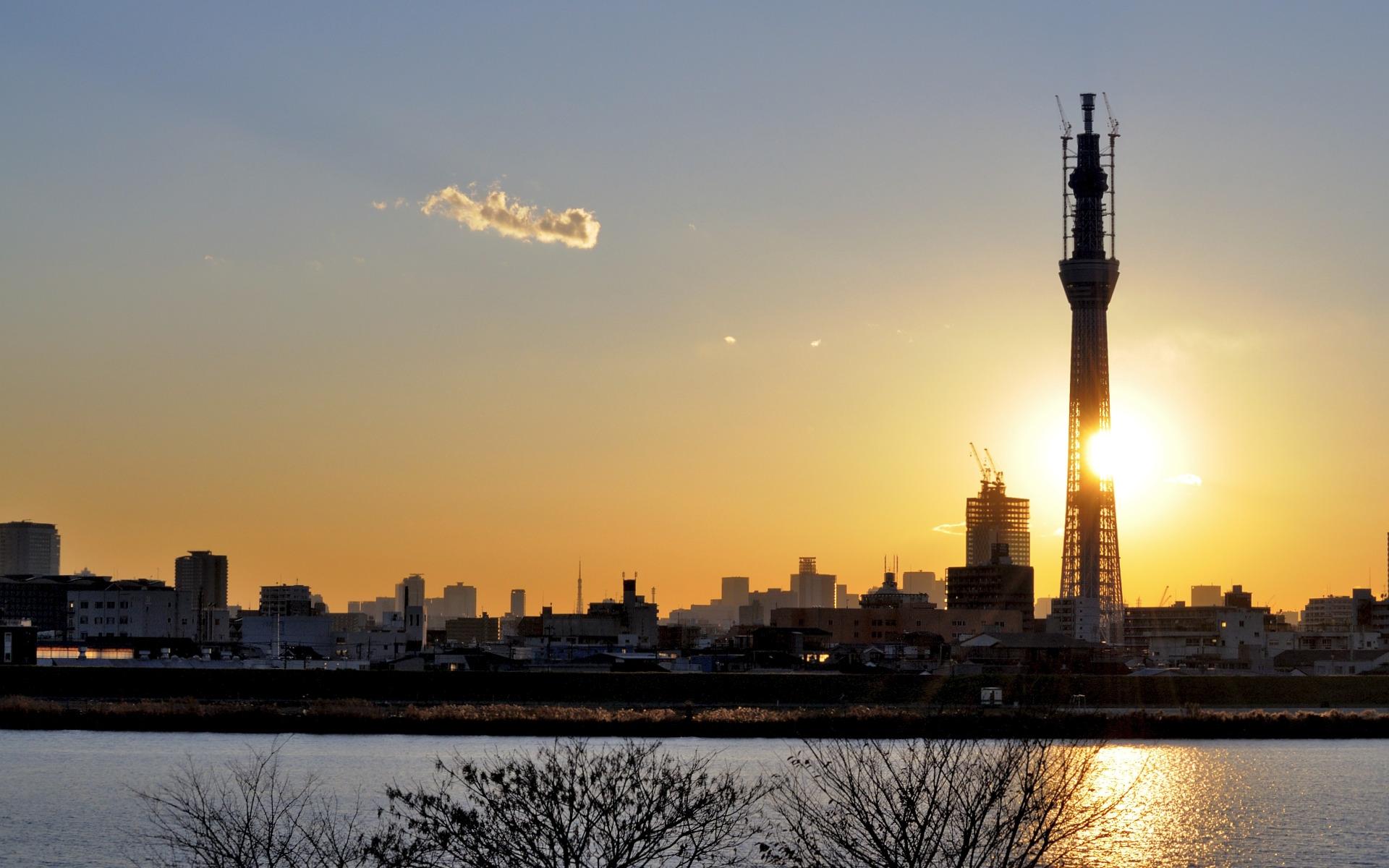 好き勝手に 壁紙 夕日と 東京スカイツリー 19x10