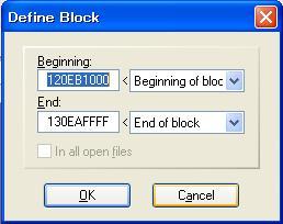 WinHex Define Block Dialog