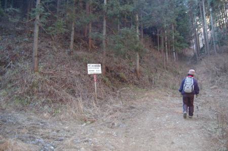 林道終点から山道へ