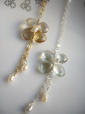 briolette flower necklace