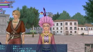 ピンク羽帽子